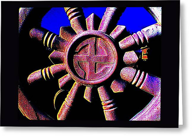 Buddhist Dharma Wheel 1 Greeting Card by Peter Gumaer Ogden