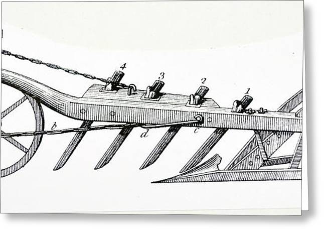 Wheeled Plough With Four Coulters Greeting Card