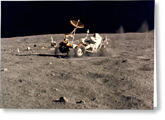 Wheelie On The Moon Greeting Card by Underwood Archives