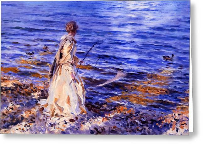 When A Woman Goes Fishing Greeting Card by Georgiana Romanovna