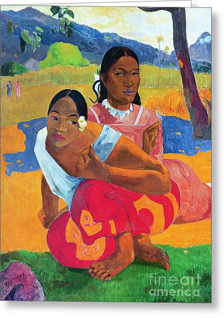 When Are You Getting Married Greeting Card by Paul Gauguin