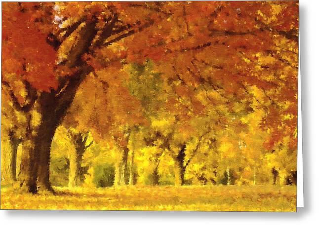 When Autumn Leaves Fall Greeting Card by Georgiana Romanovna