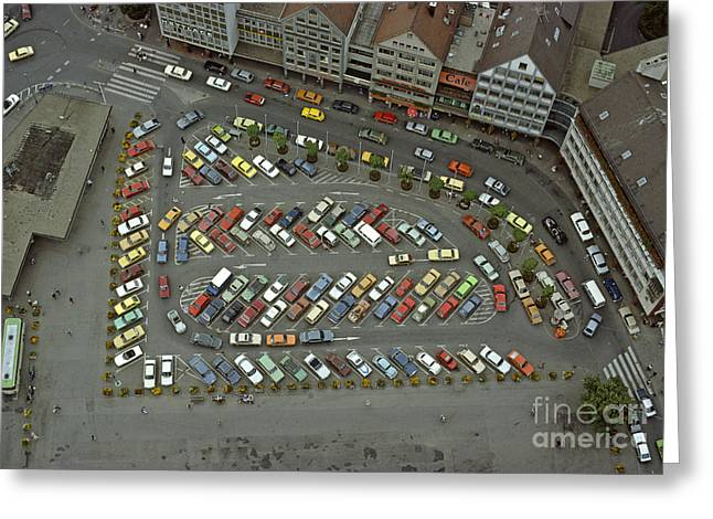 When Cars Were Colorful 1980s Greeting Card by David Davies