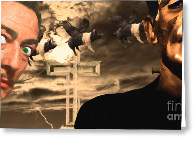 When Dali Met Frankenstein 20141215 Greeting Card by Wingsdomain Art and Photography