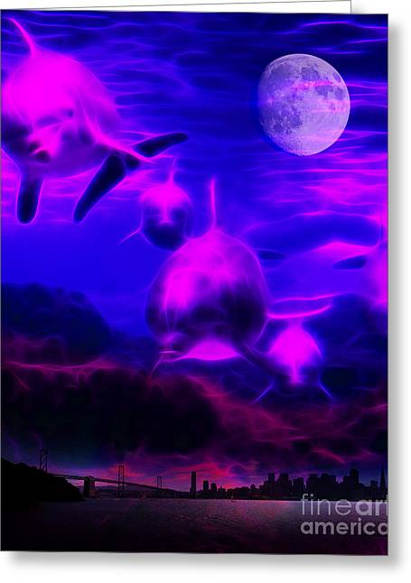 When Dolphins Cry Greeting Card by Wingsdomain Art and Photography