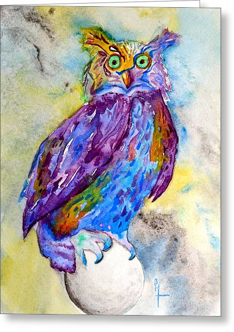 When I Put My Owl Mask On Greeting Card by Beverley Harper Tinsley