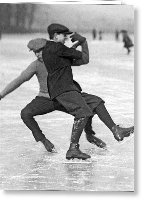 When Ice Skaters Collide Greeting Card