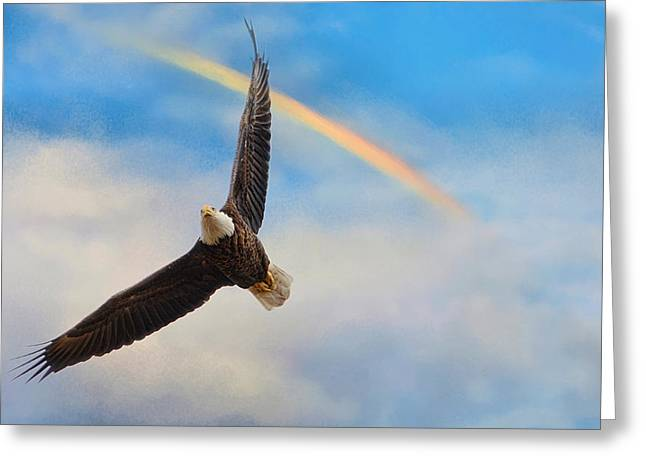 When My Wings Touch The Rainbow Greeting Card by Jai Johnson
