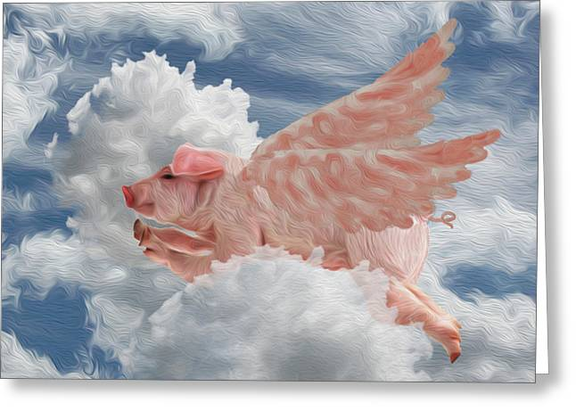 When Pigs Can Fly - Flying Pig Greeting Card by Jack Zulli