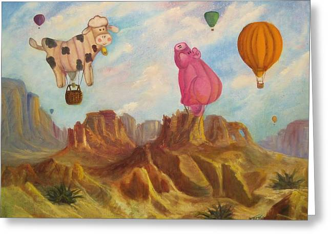 When Pigs Fly Greeting Card by Sherry Strong