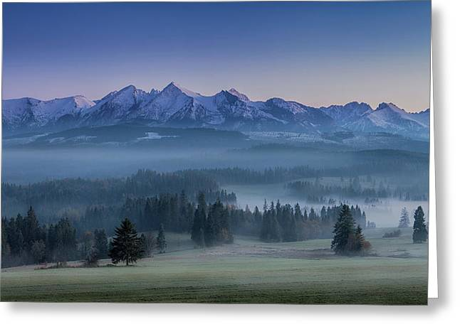 When Silence Is Sneaking Below The Mountains Greeting Card