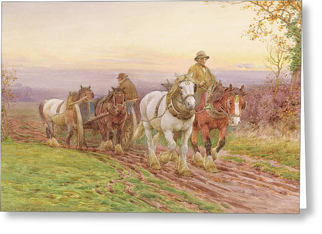 When The Days Work Is Done Greeting Card by Charles James Adams