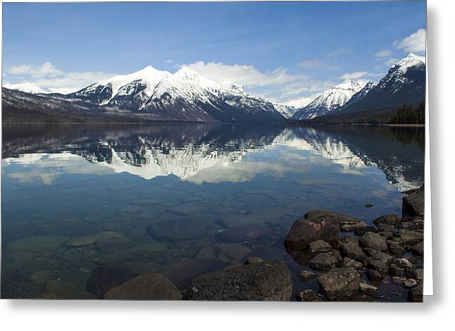 When The Sun Shines On Glacier National Park Greeting Card by Fran Riley