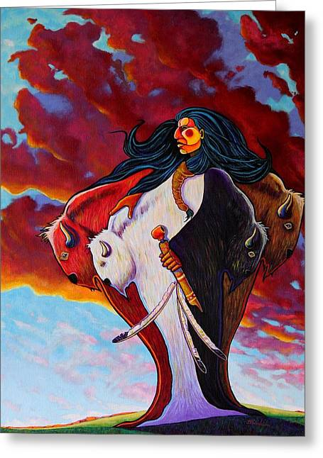 When The White Buffalo Woman First Appeared Greeting Card by Joe  Triano