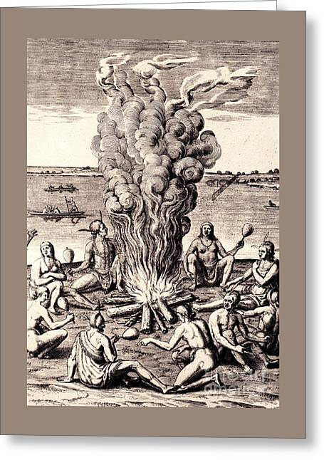 When They Returned From The War They Make Merry About The Fire Greeting Card