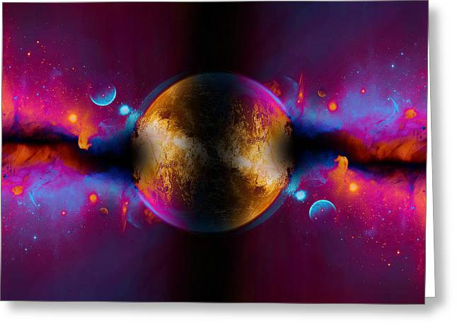 When Worlds Collide In Fire Greeting Card by Elaine Plesser