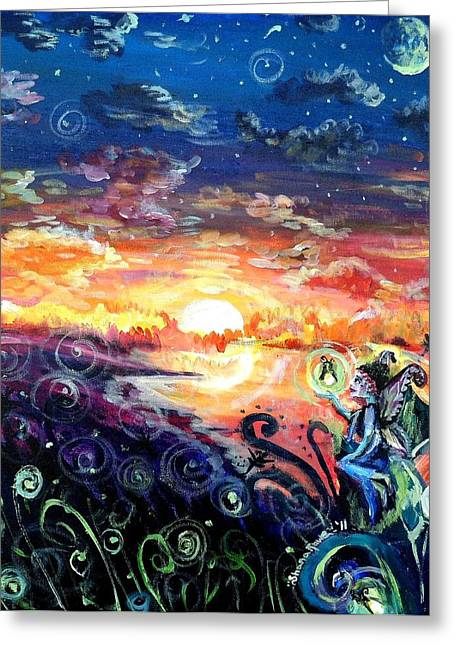 Greeting Card featuring the painting Where The Fairies Play by Shana Rowe Jackson