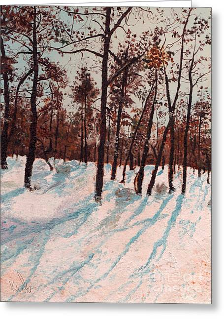 Where The Shadows Fell Greeting Card by Barb Kirpluk