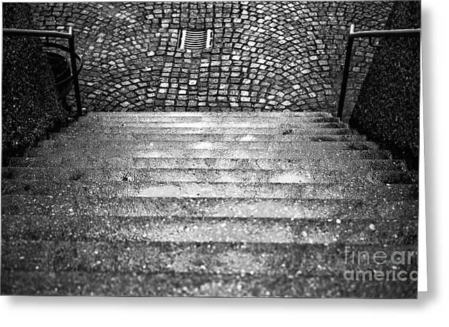 Where The Steps Lead In Salzburg Greeting Card by John Rizzuto
