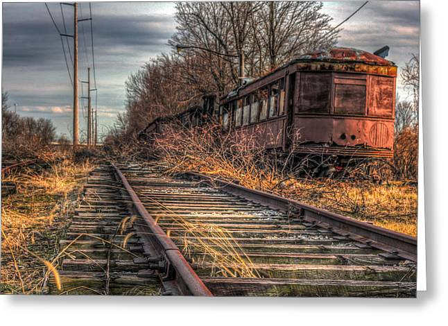 Where Trains Go To Die Greeting Card by Gary Fossaceca