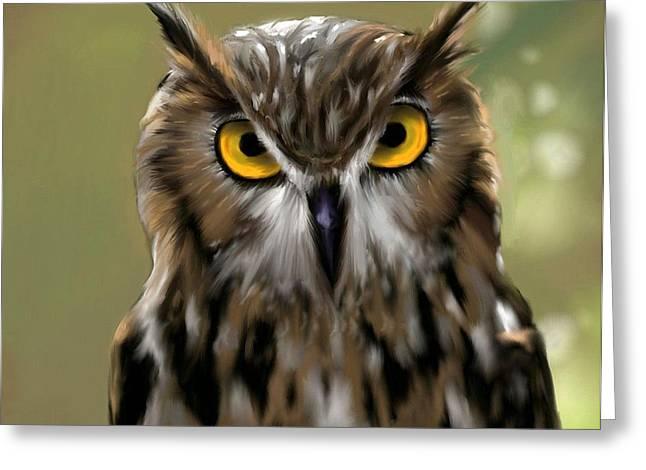 The Gaze Of An Owl - Where's My Dinner?  Greeting Card