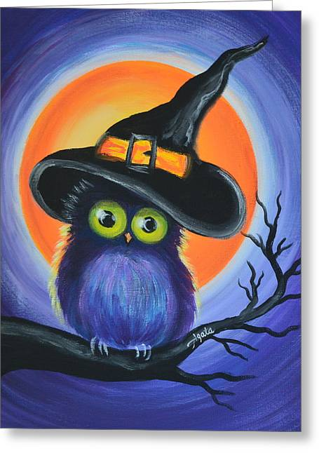 Greeting Card featuring the painting Owl Spook You by Agata Lindquist