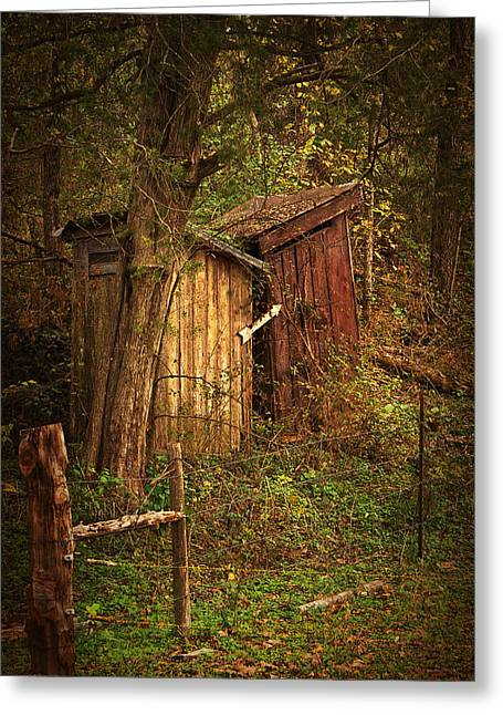 Which Way To The Outhouse? Greeting Card by Priscilla Burgers