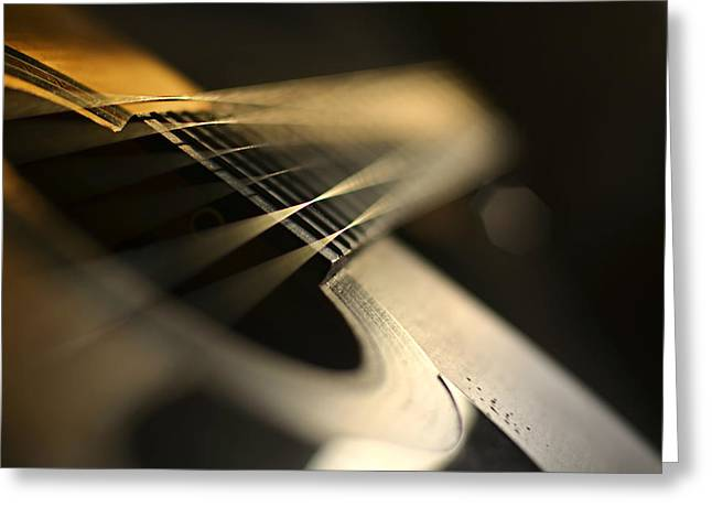 While My Guitar Gently Weeps Greeting Card by Laura Fasulo