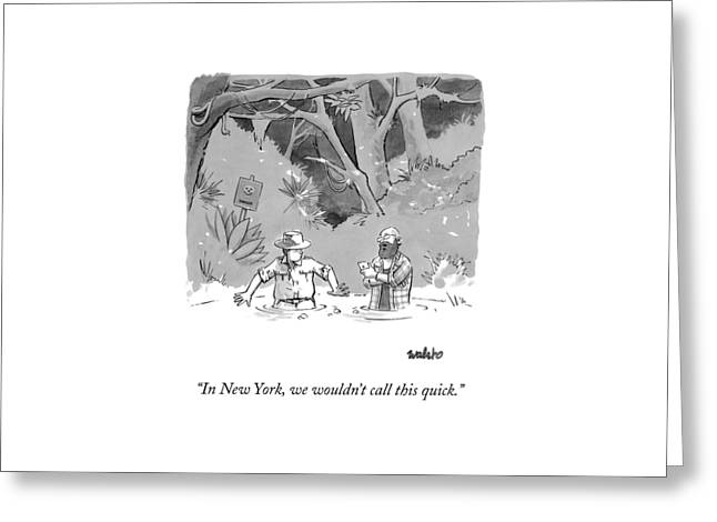While Sinking In Quicksand Beside A Park Ranger Greeting Card by Liam Walsh