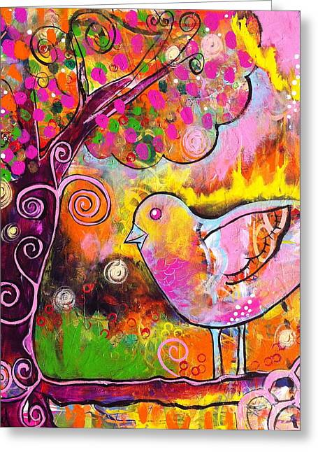 Whimsical Bird On A Branch Greeting Card by Kim Heil