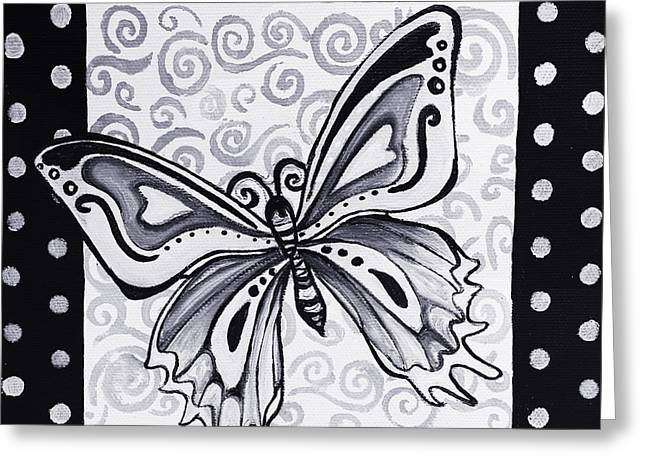 Whimsical Black And White Butterfly Original Painting Decorative Contemporary Art By Madart Studios Greeting Card by Megan Duncanson
