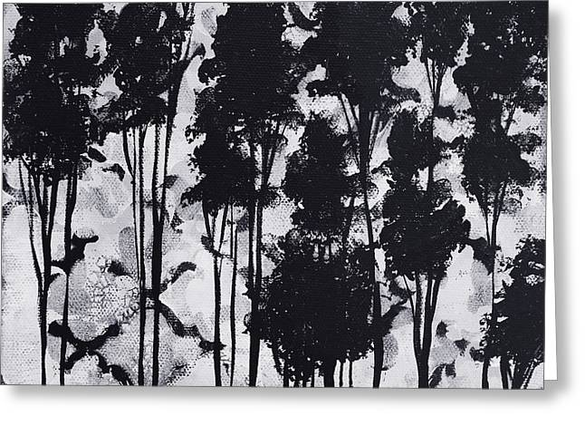 Whimsical Black And White Landscape Original Painting Decorative Contemporary Art By Madart Studios Greeting Card