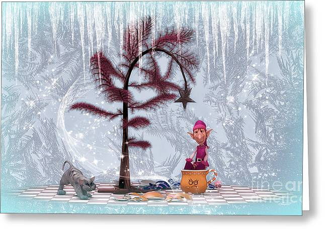 Whimsical Christmas Greeting Card by Jutta Maria Pusl