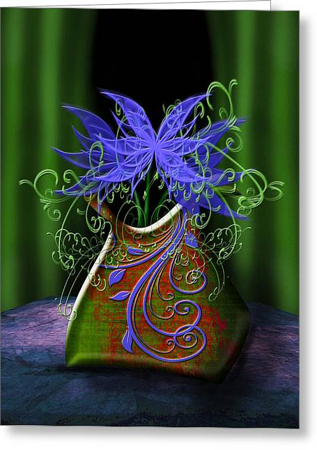 Greeting Card featuring the digital art Whimsical Floral by Katy Breen