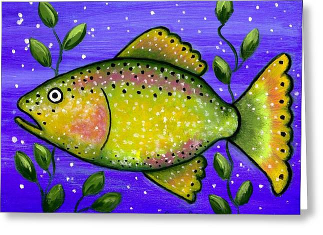 Whimsical Folk Art Fish Greeting Card