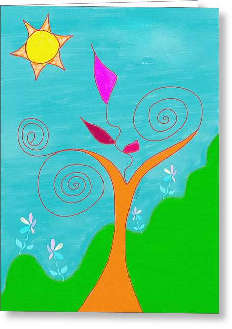 Whimsical Garden - Digital Drawing Greeting Card by Gina Lee Manley