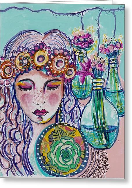Whimsical Hippie Girl Greeting Card