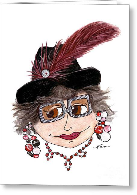 Whimsical Lady In Black Hat With Red Feather Greeting Card