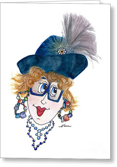 Whimsical Lady In Blue And Grey Greeting Card