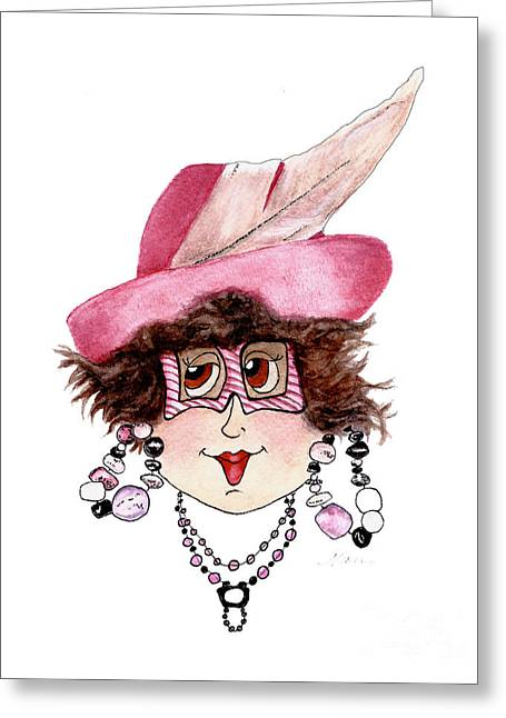 Whimsical Lady In Pink Greeting Card