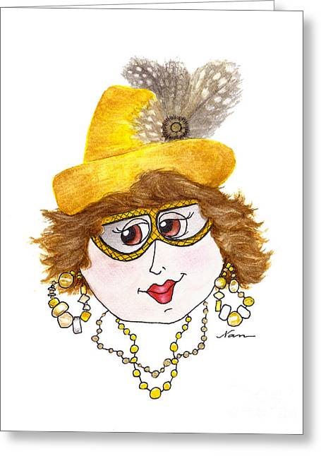 Whimsical Lady In Yellow Hat With Feathers Greeting Card