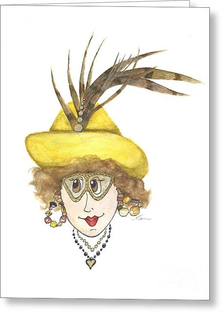 Whimsical Lady In Yellow Hat With Pheasant Feather Greeting Card