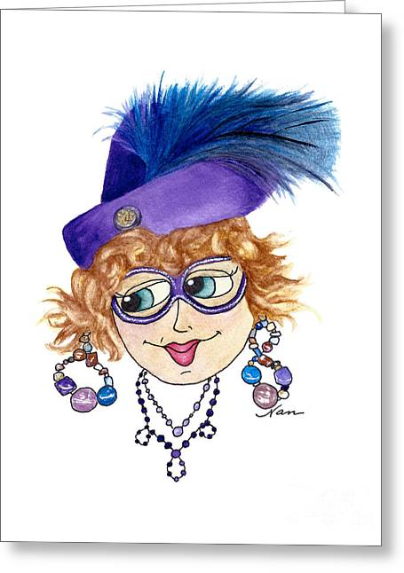 Whimsical Lady Purple With Blue Feather Greeting Card