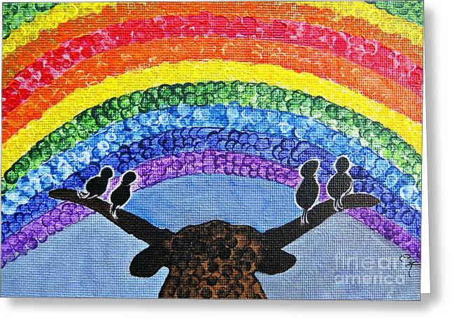 Whimsical Rainbow Sky - Longhorn And Couple Of Love Birds Painting Greeting Card by Ella Kaye Dickey