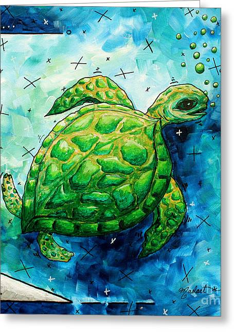 Whimsical Sea Turtle Original Painting By Megan Duncanson Greeting Card by Megan Duncanson