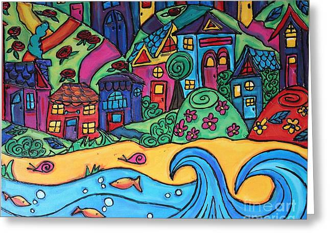 Whimsical Town Sectional  Greeting Card