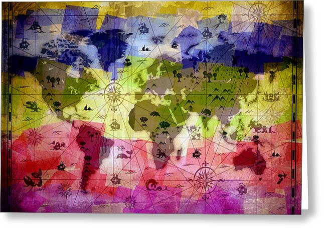 Whimsical World Map 2 Greeting Card by Angelina Vick