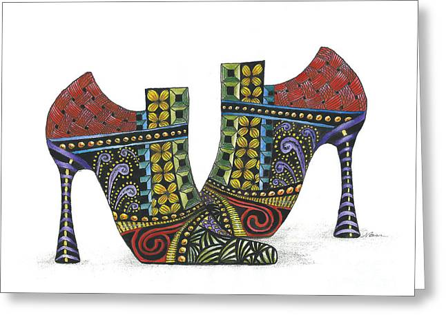 Whimsically Painted Shoes Greeting Card