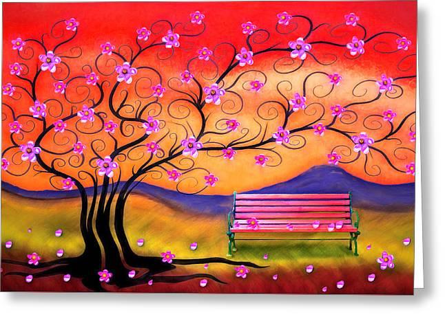Whimsy Cherry Blossom Tree-1 Greeting Card by Nina Bradica