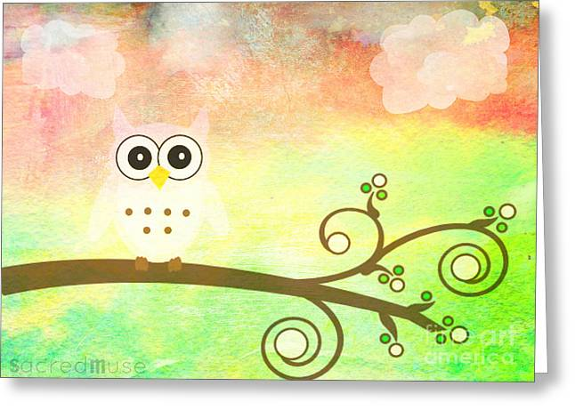 Whimsy Owl Kids Art Greeting Card by Sacred  Muse